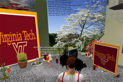 Minnesplats för massakerns offer i Second Life.