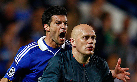 Chelsea's Michael Ballack shouts at Tom Henning Ovrebo