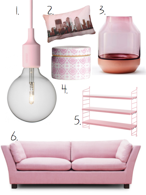 hm, rosa, lampa, string, soffa