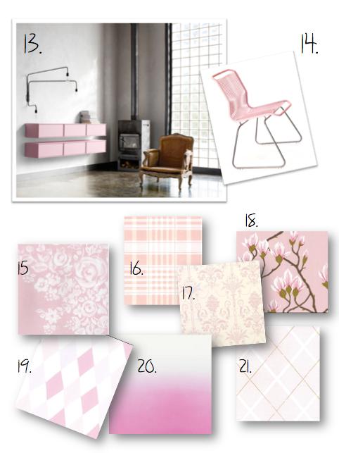 hm, rosa,  stol, tapeter, design