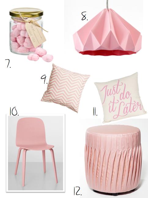 hm, rosa, lampa, stol kuddar