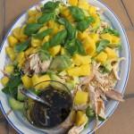 Till varmrätt bjöds det på en mango- och kycklingsallad…