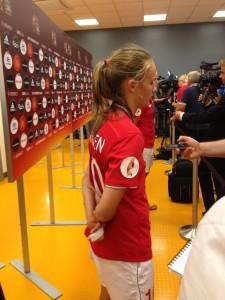 Caroline Graham Hansen efter EM-finalen mot Tyskland.