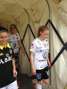 Två av Umeås målskyttar, Lina Hurtig och Jenny Hjohlman.