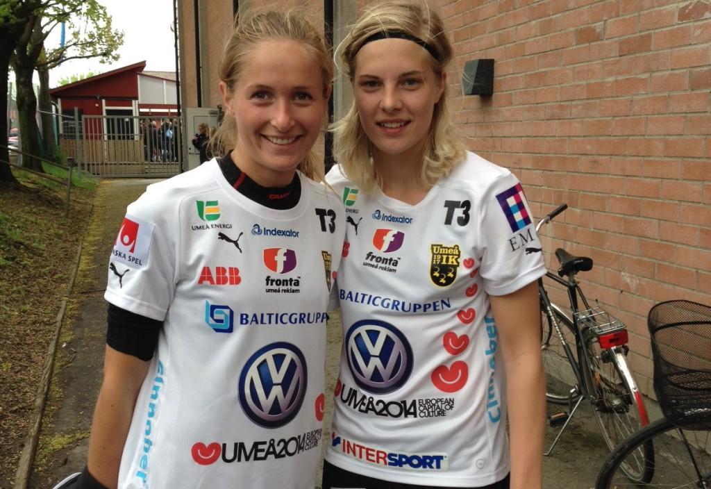 Umeås matchvinnare mot AIK, Emmelie Konradsson och Lina Hurtig.