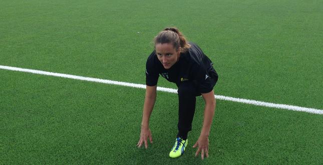 Sofia Lundgren i träning med Hammarby hösten 2014.