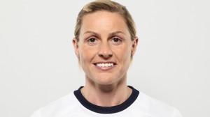 Kelly Smith i Englands vita landslagströja.