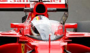 F1 - Formula One - British Grand Prix 2017 - Silverstone, Britain - July 14, 2017 Ferrari's Sebastian Vettel in action testing the shield cockpit protection device REUTERS/Andrew Boyers