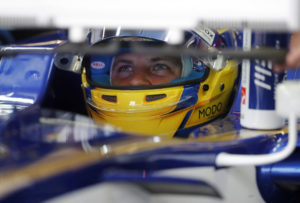 Sauber driver Marcus Ericsson of Sweden sits in his car cockpit during the third free practice session for the British Formula One Grand Prix at the Silverstone racetrack in Silverstone, England, Saturday, July 15, 2017. The British Formula One Grand Prix will be held on Sunday, July 16. (AP Photo/Frank Augstein)