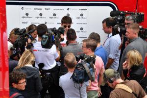 Charles Leclerc (MON) Alfa Romeo Sauber F1 Team talks with the media at Formula One World Championship, Rd5, Spanish Grand Prix, Preparations, Barcelona, Spain, Thursday 10 May 2018.
