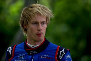 MONTREAL, QC - JUNE 10: Brendon Hartley of New Zealand and Scuderia Toro Rosso walks round the circuit after retiring during the Canadian Formula One Grand Prix at Circuit Gilles Villeneuve on June 10, 2018 in Montreal, Canada. Charles Coates/Getty Images/AFP == FOR NEWSPAPERS, INTERNET, TELCOS & TELEVISION USE ONLY ==