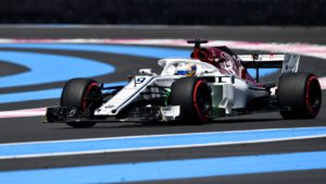 Sauber F1's Swedish driver Marcus Ericsson drives during the first practice session at the Circuit Paul Ricard in Le Castellet, southern France, on June 22, 2018, ahead of the Formula One Grand Prix de France. / AFP PHOTO / GERARD JULIEN