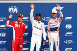 Formula One F1 - Belgian Grand Prix - Spa-Francorchamps, Stavelot, Belgium - August 25, 2018 Mercedes' Lewis Hamilton celebrates qualifying in pole position with Ferrari's Sebastian Vettel in second position and Force India's Esteban Ocon in third position REUTERS/Francois Lenoir