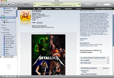 Metallica-appen, så som den lanseras i iTunes.