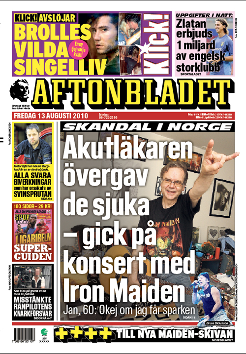 Aftonbladets första sida 13/8