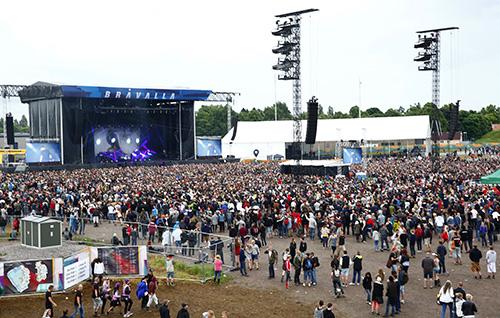 Den största scenen, den så kallade Blue Stage, under In Flames spelning på torsdagkvällen. Foto: Stefan Jerrevång