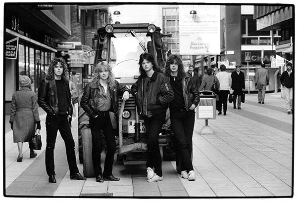 """Europes """"Wings of tomorrow""""-sättning. Från vänster Joey Tempest (sång), Tony Reno (trummor), John Norum (gitarr) och John Levén (bas). Foto: Pea Björklund/Aftonbladets bildarkiv"""
