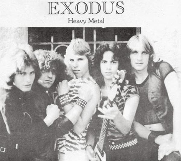En mycket tidig promobild på Exodus. Från vänster Gary Holt (gitarr), Paul Baloff (sång), Jeff Andrews (bas), Kirk Hammett (gitarr) och Tom Hunting (trummor).