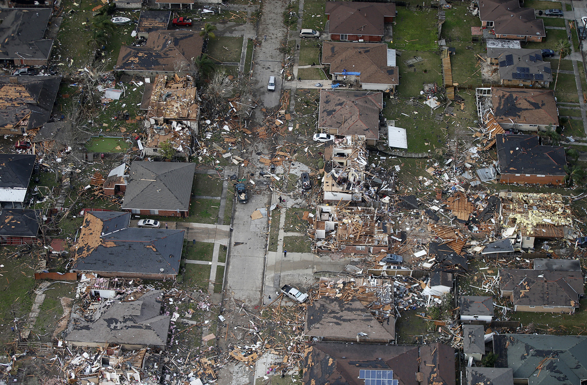 Destroyed and damaged homes are seen in this aerial photo after a tornado tore through the eastern neighborhood in New Orleans on February 7, 2017. Governor John Bel Edwards has declared a state of emergency for Louisiana after a severe storm moved across the state's southeast corner, including the parishes of Ascension, Livingston, Orleans, St. James, St. Tammany and Tangipahoa. # Gerald Herbert / AP