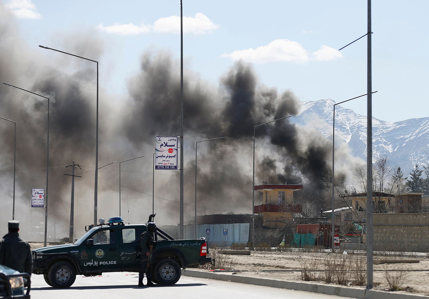 KABUL 2017-03-01 Smoke rises from the site of a blast and gunfire between Taliban and Afghan forces in PD 6 in Kabul, Afghanistan March 1, 2017.REUTERS/Mohammad Ismail TPX IMAGES OF THE DAY Photo: / REUTERS / TT / kod 72000