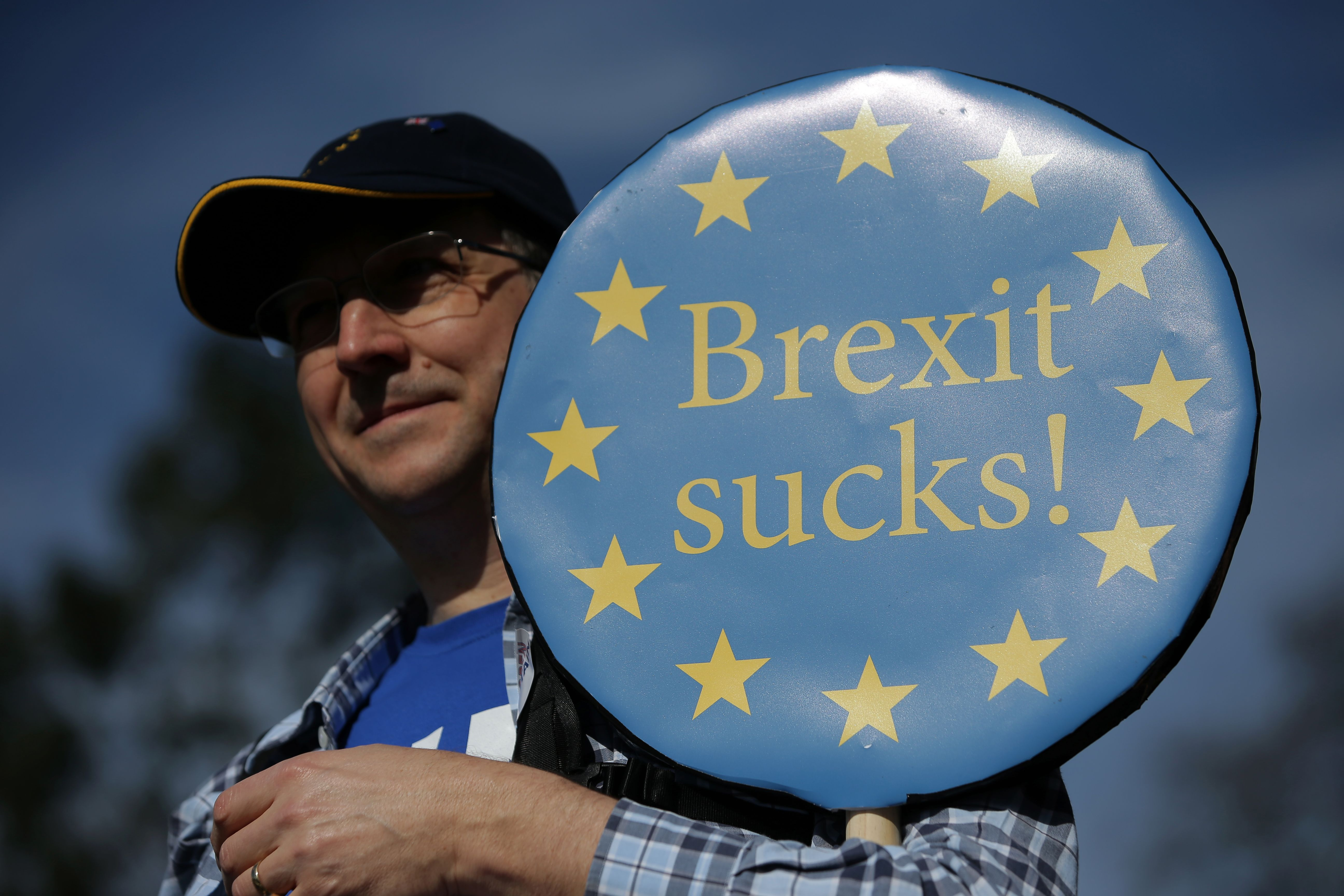"TOPSHOT - A demonstrator holds a placard reading ""Brexit Sucks!"" as he participates in an anti Brexit, pro-European Union (EU) march in London on March 25, 2017, ahead of the British government's planned triggering of Article 50 next week. Britain will launch the process of leaving the European Union on March 29, setting a historic and uncharted course to become the first country to withdraw from the bloc by March 2019. / AFP PHOTO / Daniel LEAL-OLIVAS / TT / kod 444"