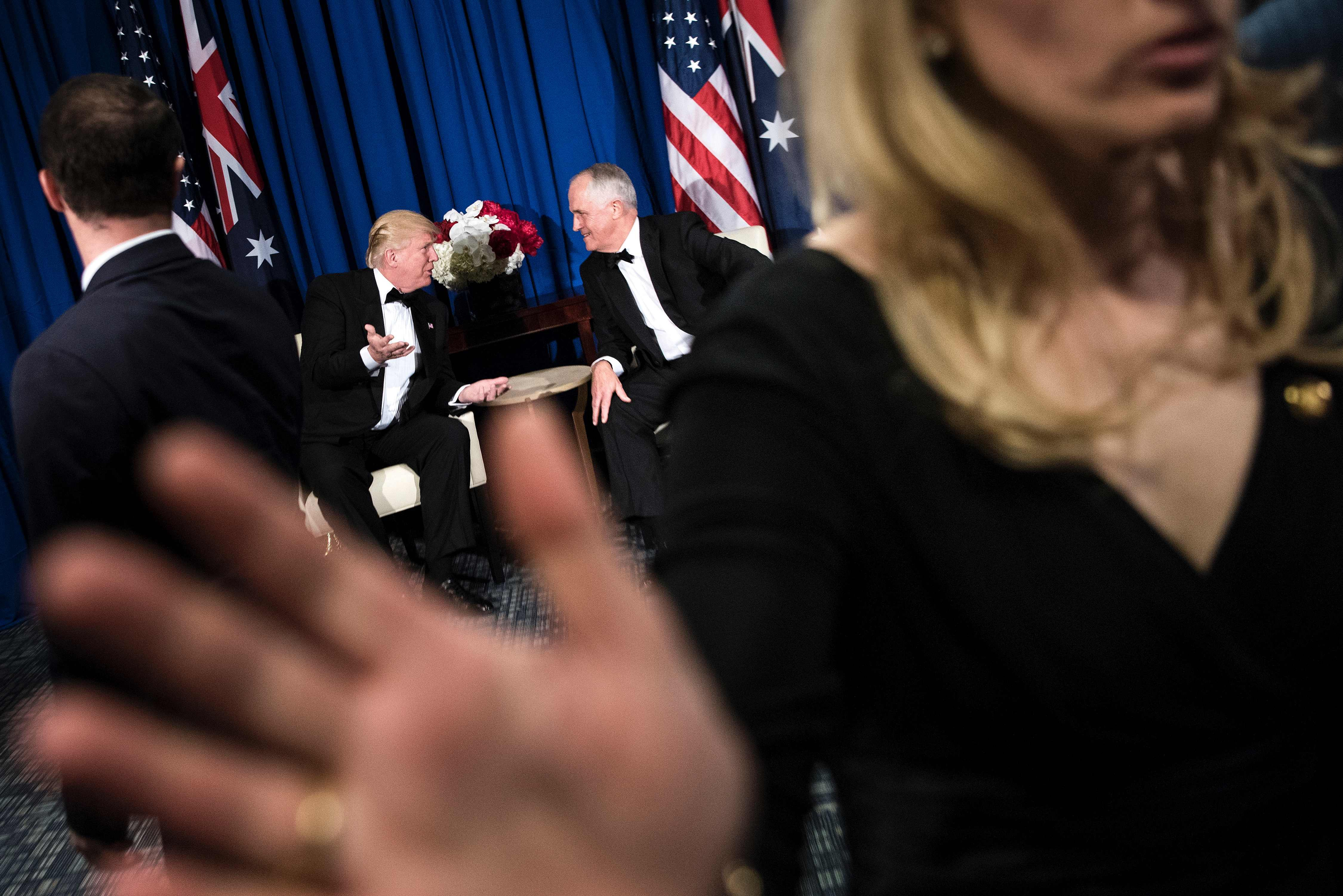 TOPSHOT - Australia's Prime Minister Malcolm Turnbull (R) confers with US President Donald Trump on board the Intrepid Sea, Air and Space Museum May 4, 2017 in New York, New York. / AFP PHOTO / Brendan Smialowski / TT / kod 444