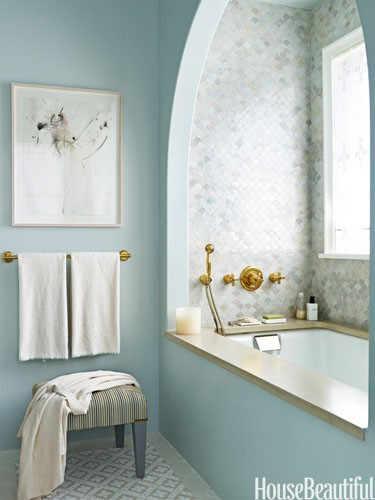 Bohemchic badrum for Bathroom color ideas blue