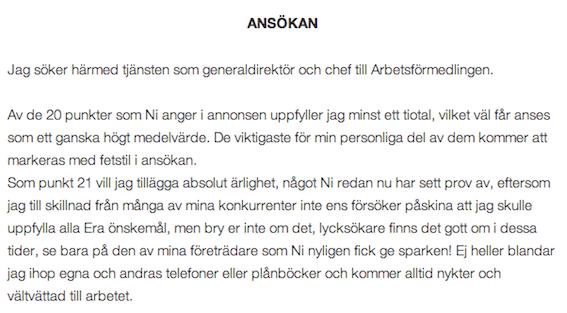 Inledningen på Pentti Salmenrantas ansökan till tjänsten som generaldirektör på Arbetsförmedlingen.