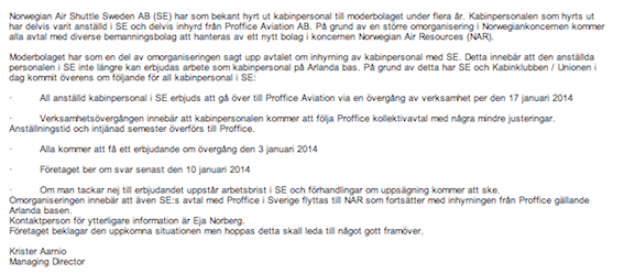 Här är mejlet som den svenska kabinpersonalen fick för några dagar sedan.