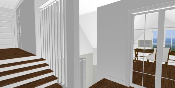 Förslag 4 - trappa upp från den gamla delen samt vy mot nytt kontor över farstubron - plan 2
