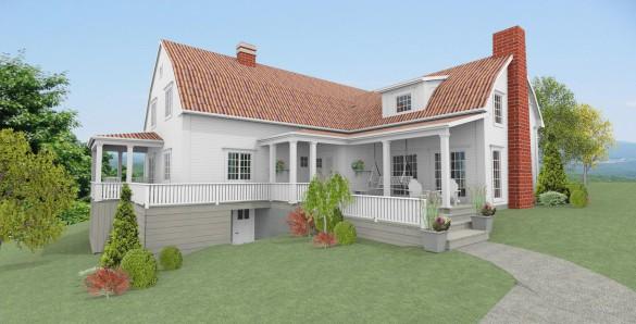 Förslag 1 - fasad mot sydväst med tegeltak
