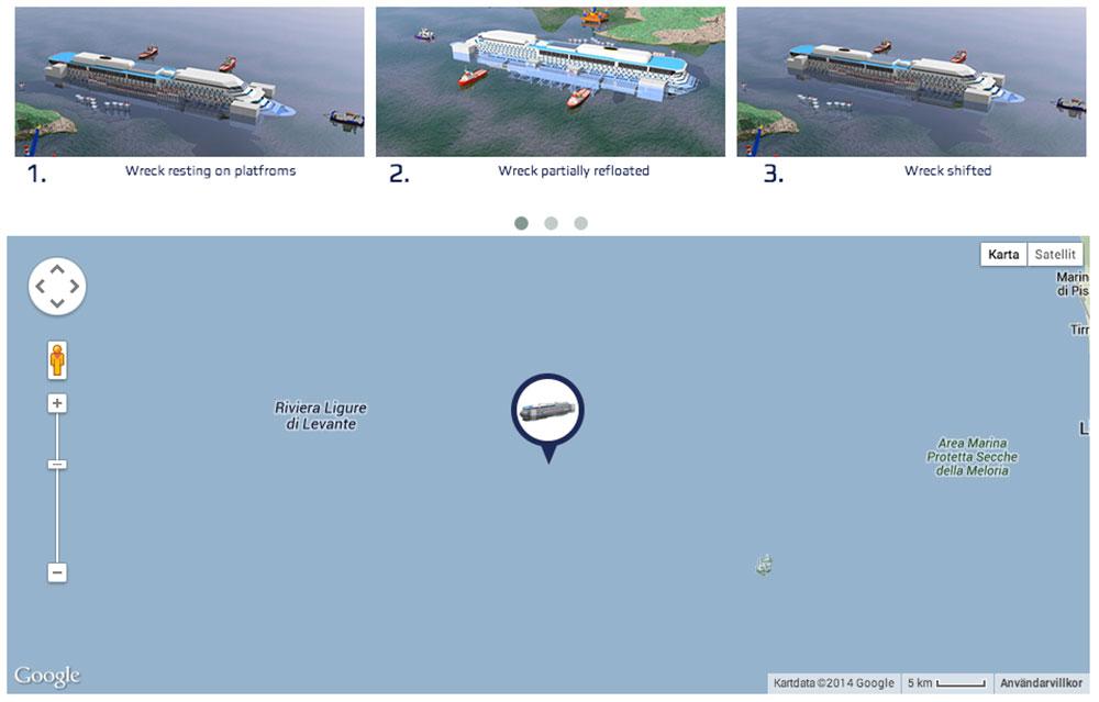 Följ Costa Concordias sista färd på nätet.