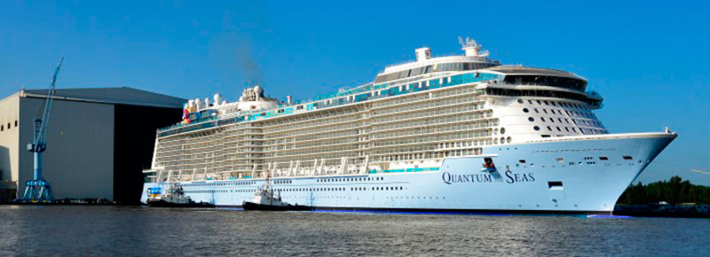"Quantum of the Seas ""float out"" på varvet. Foto: Meyer Werft"