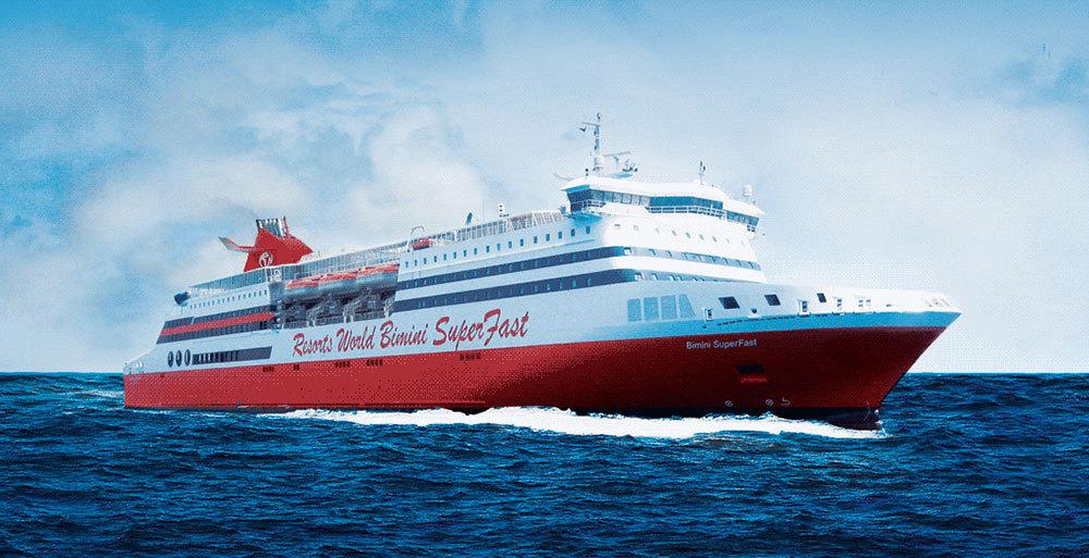 Färjan Bimini SuperFast är på 32000 bruttoton och tar 1500 passagerare. Foto: Resorts World