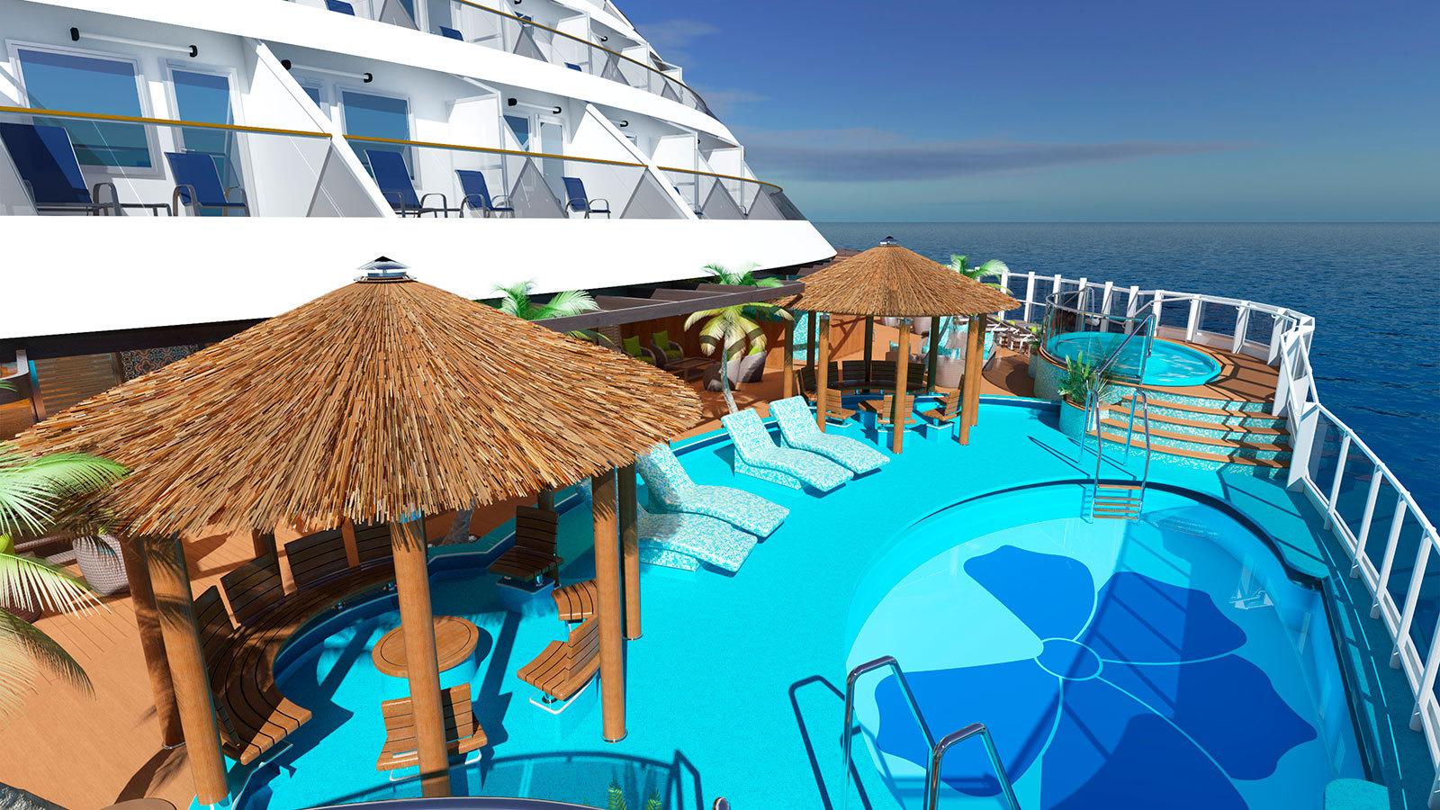 Havana-baren har också egen pool med uteservering. Foto: Carnival Cruises