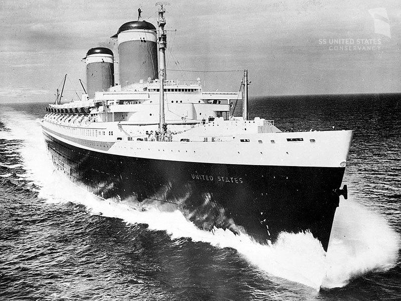 SS United States loggade över 35 knop när hon slog fartrekordet över Atlanten 1952. Foto: SS United States Conservancy