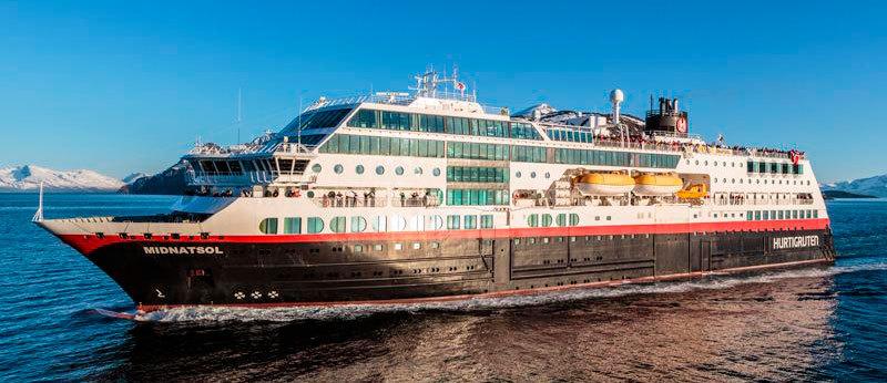 M/s Midnatsol tar 647 gäster. Foto: Hurtigruten