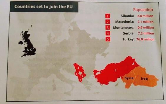 Flygblad om vilka länder som kommer gå med i EU från Brexit-kampanjen. Turkiet är utmärkt, liksom Irak och Syrien