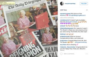 Den nya bilden på drottningen, tagen av Paul McCartneys dotter Mary McCartney, pryder de brittiska tidningarnas förstasidor. Foto: Screenshot från McCartneys Instagram.