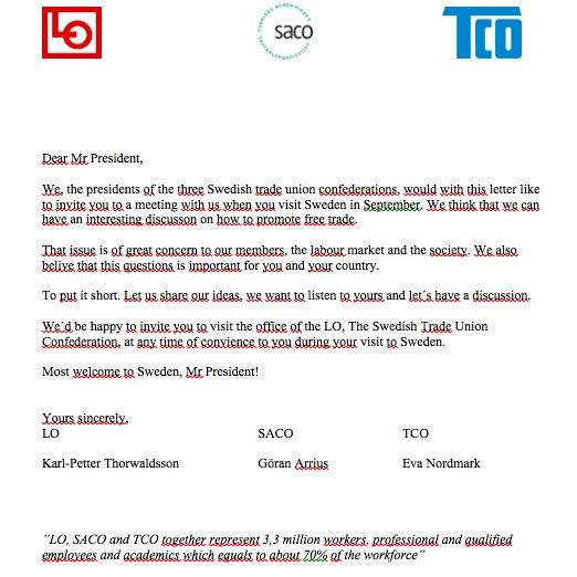 Brevet som i dag skickades till USA:s president Barack Obama.