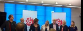 Partisekreteraren Carin Jämtin (S) med partiets främsta namn till EU-valet. (Saknas gör Anna Hedh).