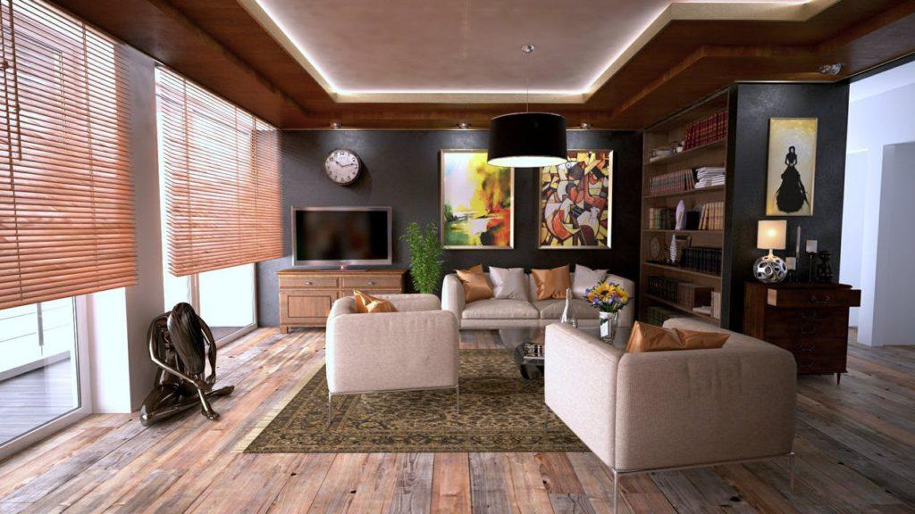 Ett supermysigt vardagsrum - eller ett komplett hemmagym efter några hårda klappar under årets julgran. Du bestämmer.