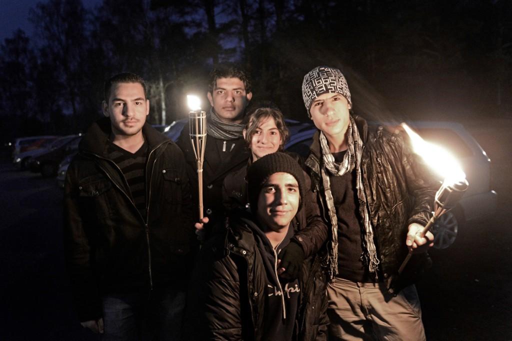 Mouaz Alsobeh, 17, Tawfiq Alkhadra, 17, Tabarak Alkhadra, 12, Emad Absod, 17 och Ahmras Idres, 18. Foto: Stefan Mattsson.