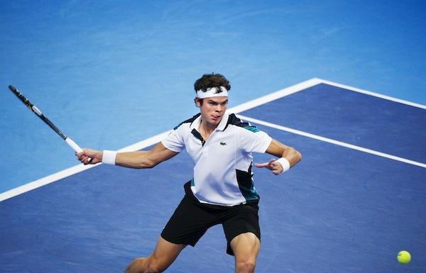 Milos Raonic in action i Kungliga Tennishallen under Stockholm Open 2011. FOTO: BILDBYRÅN