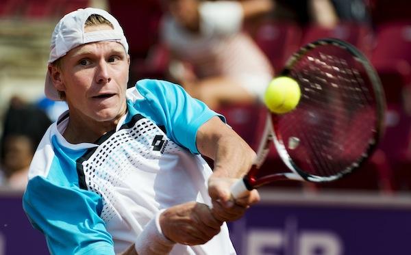 Sverigeettan Markus Eriksson har skrälläge i sin öppningsmatch i Stockholm Open. FOTO: BILDBYRÅN