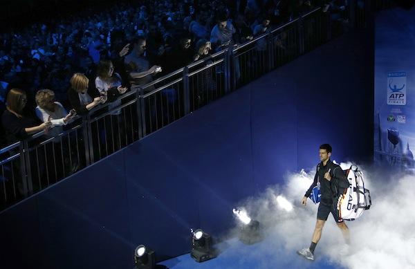 Novak Djokovic säkrade gruppsegern i och med sin seger över Juan Martín del Potro. FOTO: BILDBYRÅN