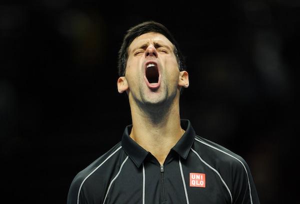 Novak Djokovics segervrål efter att ha besegrat rivalen Rafael Nadal i World Tour Finals-finalen i London. FOTO: BILDBYRÅN