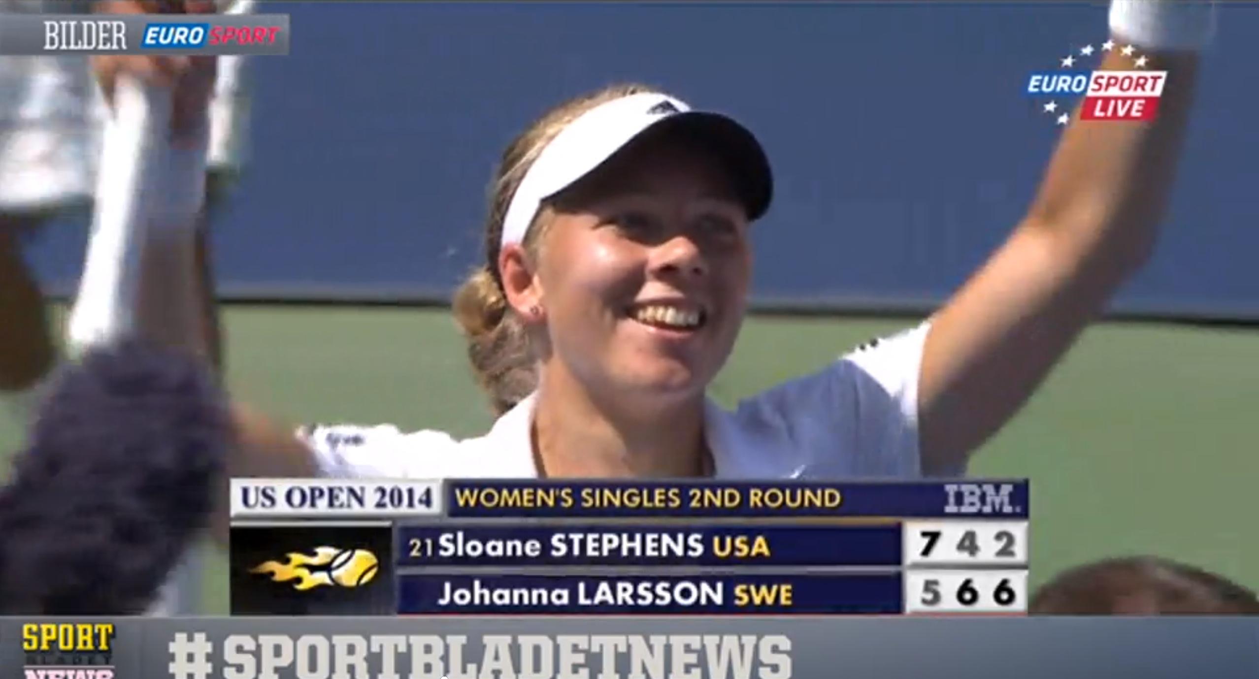 Johanna Larsson är klar för tredje omgången i US Open för första gången i karriären.