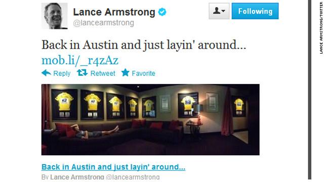 Bilden Lance Armstrong lade upp på Twitter efter att han fråntagits sina sju Tour de France-segrar.
