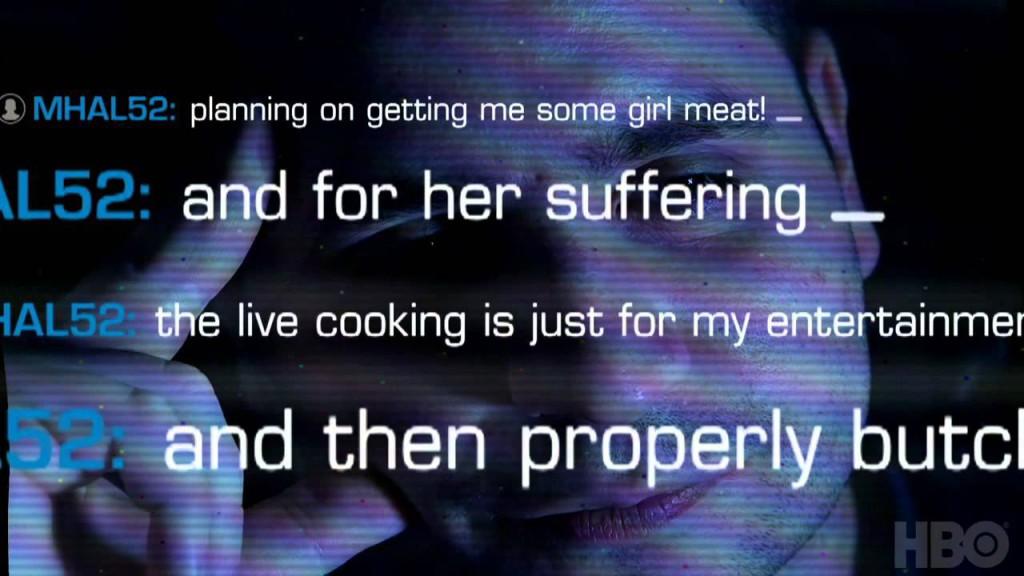 """Utdrag ur Gilberto Valles chatt från dokumentären """"Thought crime: The case of the cannibal cop"""". Foto: HBO"""